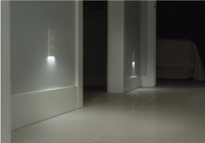 Hallway with LED lights.